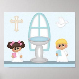 Cruz del azul del rosa de la biblia del chica del póster