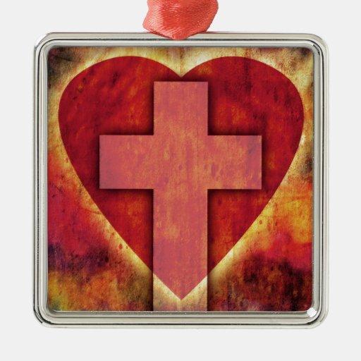 Cruz del corazón adorno de navidad