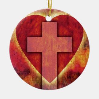Cruz del corazón adorno navideño redondo de cerámica