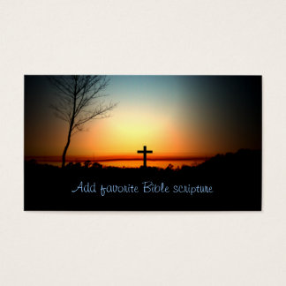 Cruz del cristiano de la puesta del sol tarjeta de negocios