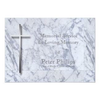 Cruz del metal en el mármol 1 - invitación fúnebre
