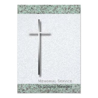 Cruz del metal/invitación fúnebre de la piedra 1 invitación 12,7 x 17,8 cm