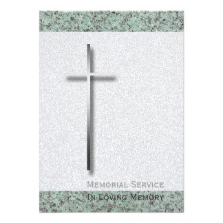 Cruz del metal invitación fúnebre de piedra
