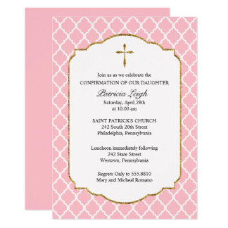 Cruz del oro, confirmación de Quatrefoil, rosada Invitación 12,7 X 17,8 Cm