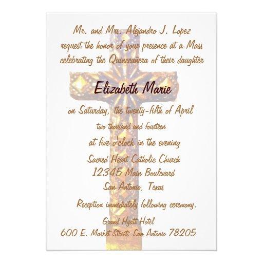 Cruz del oro de Quinceanera Comunicados Personalizados