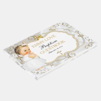 Cruz del oro del bautismo de la niña del vintage libro de invitados