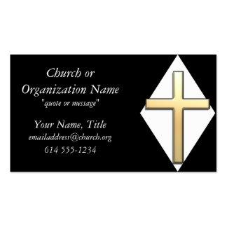Cruz del oro en las tarjetas de visita blancas/neg