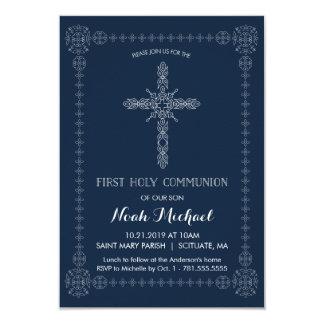 Cruz elegante de la primera de la comunión santa invitación 8,9 x 12,7 cm