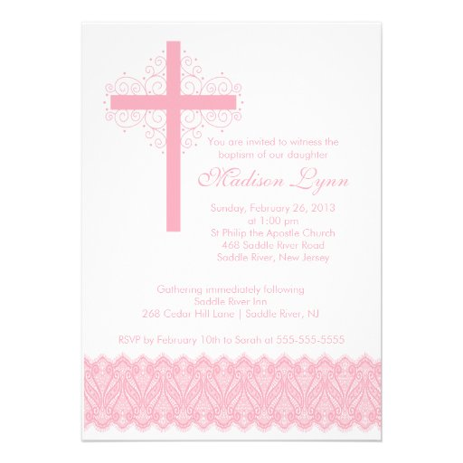 Cruz elegante del bautizo del bautismo el   del co invitaciones personalizada