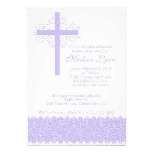 Cruz elegante del bautizo del bautismo el   del co comunicado personalizado