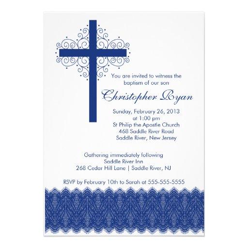 Cruz elegante del bautizo del bautismo el   del co invitación personalizada
