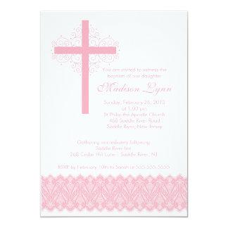 Cruz elegante del bautizo del bautismo el | del invitación 12,7 x 17,8 cm