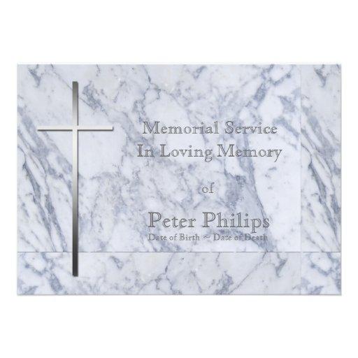 Cruz en el mármol - invitación fúnebre del metal