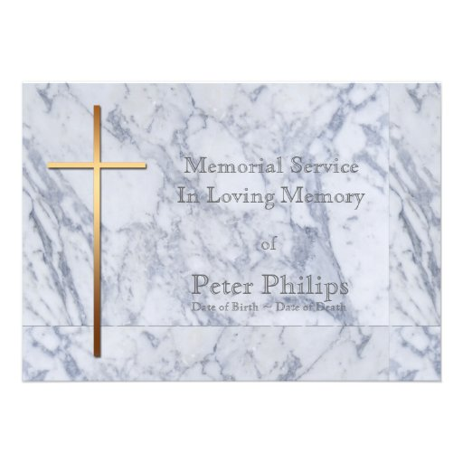 Cruz en el mármol - invitación fúnebre del oro