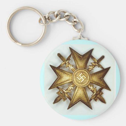 Cruz española en oro con las espadas llavero