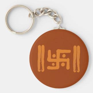 Cruz gamada: Símbolo religioso indio Llavero Redondo Tipo Chapa