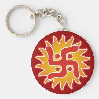 Cruz gamada: Símbolo tradicional indio Llavero Redondo Tipo Chapa