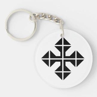 Cruz geométrica del negro del estilo llavero redondo acrílico a doble cara