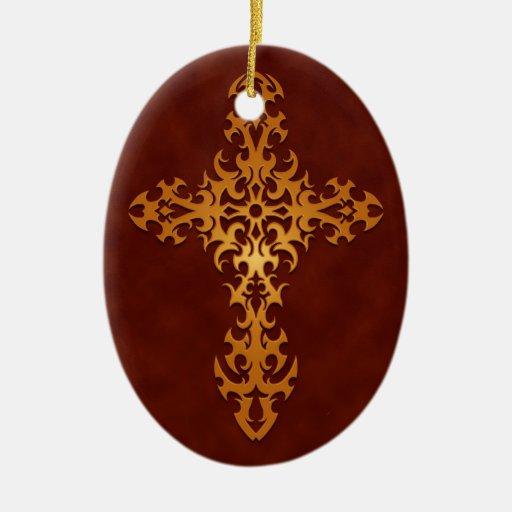Cruz gótica tribal roja de oro adorno de navidad