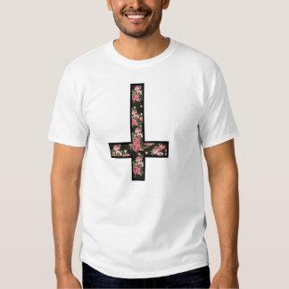 cruz invertida del estampado de flores camisas