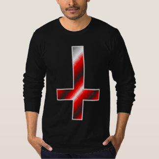 Cruz invertida rojo satánico camiseta