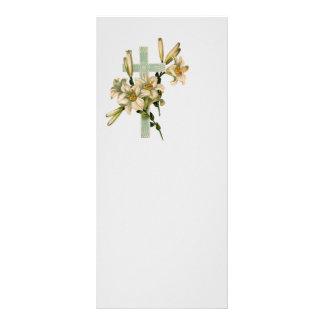 Cruz latina con las flores diseño de tarjeta publicitaria