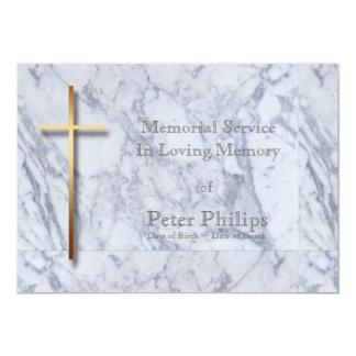 Cruz/mármol de oro 1 - invitación fúnebre invitación 12,7 x 17,8 cm