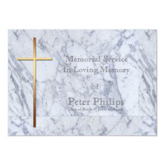 Cruz/mármol de oro 2 - invitación fúnebre invitación 12,7 x 17,8 cm