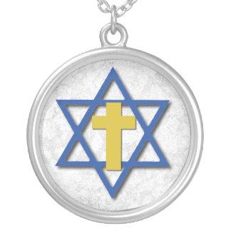 Cruz mesiánica con la estrella de David Collar Plateado