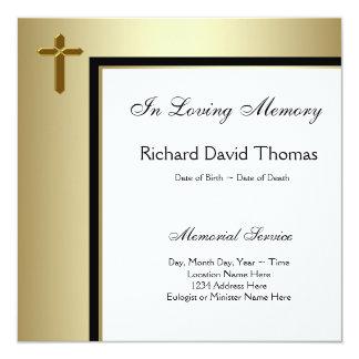 Cruz negra del oro en monumento cariñoso de la invitación 13,3 cm x 13,3cm