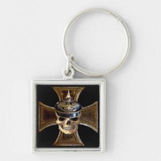 Cruz prusiana del hierro del cráneo w llavero cuadrado plateado