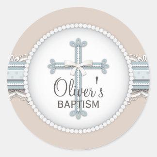Cruz religiosa beige de la celebración de los etiqueta redonda