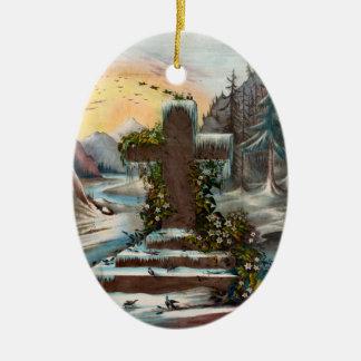 Cruz religiosa del navidad en invierno adorno navideño ovalado de cerámica