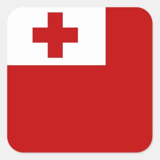 Cruz Roja de la bandera de la isla de Tonga Pegatina Cuadrada