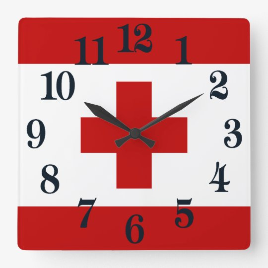 Cruz Roja de la bandera de la isla de Tonga Reloj Cuadrado
