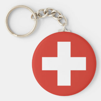 Cruz Roja de la bandera suiza Llavero Redondo Tipo Chapa