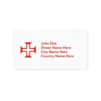 Cruz roja de Templar Etiquetas De Dirección