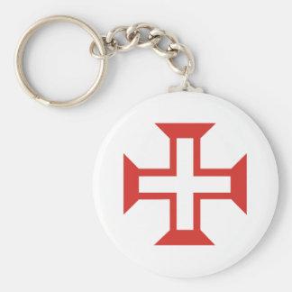 Cruz roja de Templar Llavero Redondo Tipo Chapa