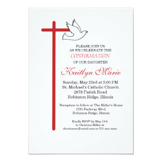 Cruz Roja y paloma de la invitación de la