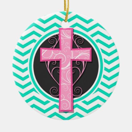 Cruz rosada; Aguamarina Chevron verde Ornamento Para Arbol De Navidad