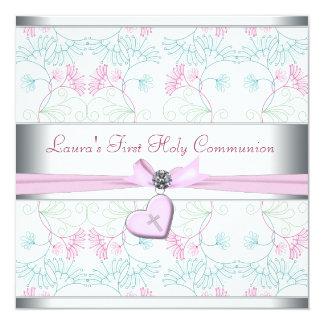 Cruz rosada blanca primer Commun del corazón Invitaciones Personalizada