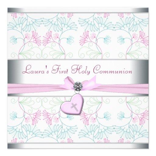 Cruz rosada blanca primer Commun del corazón rosad Invitaciones Personalizada