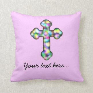 Cruz rosada personalizada cojín decorativo
