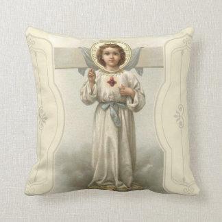 Cruz sagrada del corazón del Jesucristo Cojín Decorativo