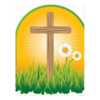 Cruz santa hermosa en dios verde de la salida del postal