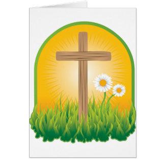 Cruz santa hermosa en dios verde de la salida del tarjeta de felicitación