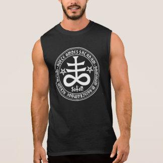 Cruz satánica con el texto y los Pentagrams de Camisetas Sin Mangas