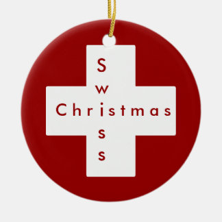 Cruz suiza adorno navideño redondo de cerámica