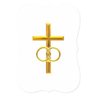 Cruz tridimensional de oro con los anillos de comunicados personales
