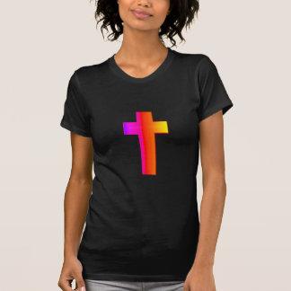 cruz tridimensional del arco iris camiseta